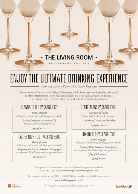 The living room manchester for Living room menu